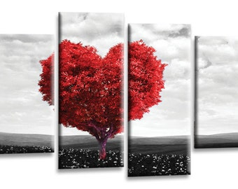 Floral Abstract Love Heart Tree Picture Print Red Grey White Flower Canvas Wall Art Split 4 Panel  sc 1 st  Etsy & Red grey wall art | Etsy