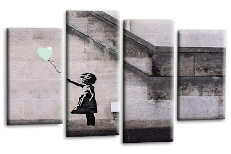 """BANKSY ART PICTURE DUCK EGG GREY CANVAS GIRL WITH BALLOON WALL 4 PANEL 44/""""x 27/"""""""