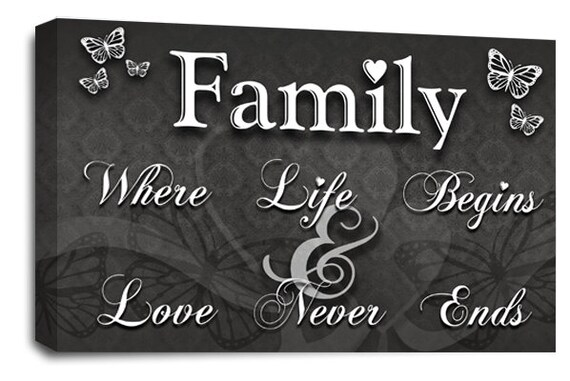FAMILY LOVE QUOTE Art Picture Black White Grey Canvas Home Wall Print