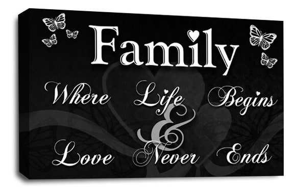 FAMILY QUOTE Black /& White Canvas Wall Art Picture Print ALL SIZES Life
