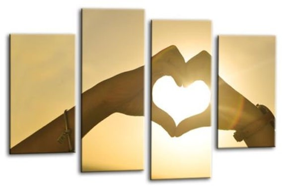Le Reve Sunset Heart Wall Art Orange Gold Love Hands Canvas Picture Panel Framed