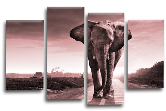 Sunset Elephants Canvas Wall Art Picture Pink Grey Black White Etsy