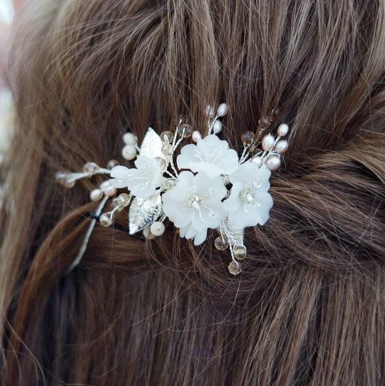Wedding headpiece Wedding hair piece Bridal hair clip Flower headpiece Flower hair vine Wedding hair accessories Bridal comb Bride hair comb