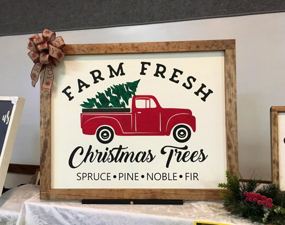 16 X 21 Red Christmas Truck Wood Frame Sign Etsy