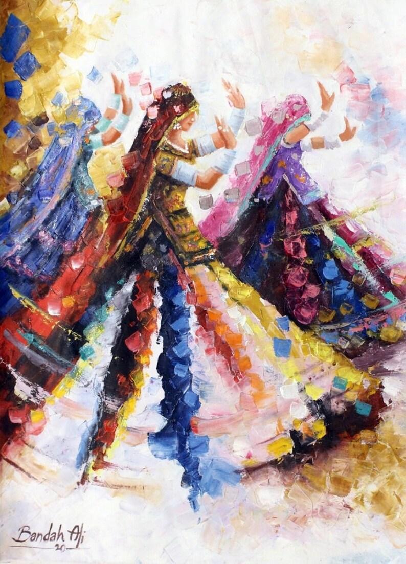 Beautiful Abstract Rajasthani Women Dancing Figurative Painting Print Wall Decor Sufi Art