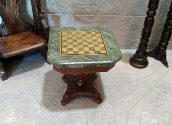 Dollhouse Miniature Paw Foot Chess Game Table Walnut With Marble Top Artisan Made 1 12 Scale