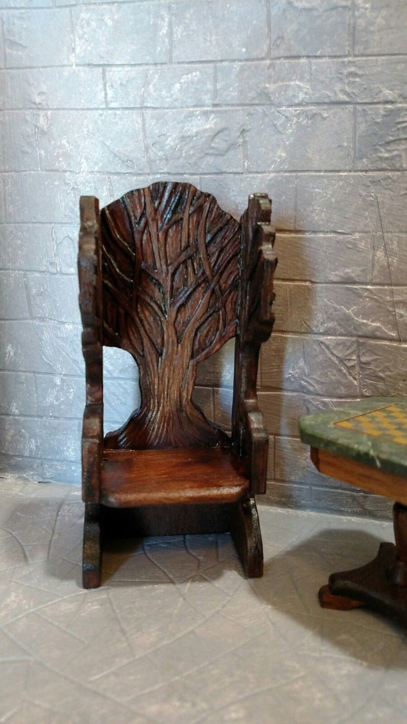Groovy Handcarved Wizard Or Witch Throne Chair Medieval Castle Wizard Witch Cabin Artisan Crafted Dollhouse Furniture 1 12 Scale Beutiful Home Inspiration Ommitmahrainfo