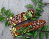 Succulent Leather Apple Watch Band Hand Painted and Tooled