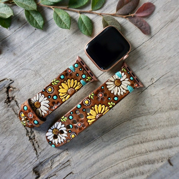 Daisy And Sunflower Leather Apple Watch Band Etsy
