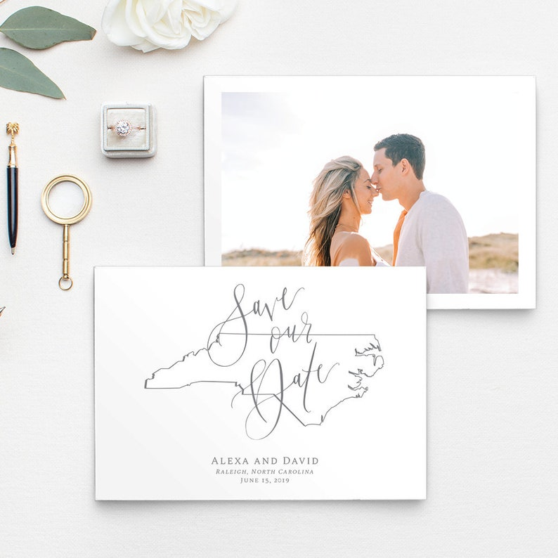 Save Our Date Save the Date Wedding Invitations North Carolina State Outline Photo Save the Date Custom 5x7 Save the Date
