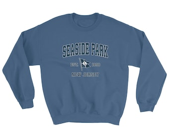 1e5e073d6b4c4b Seaside Park NJ Sweatshirt Vintage Seaside Park New Jersey Sailing Anchor  Boat Flag Sweatshirt (Unisex)
