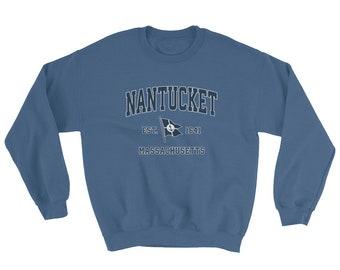 Nantucket MA Sweatshirt Vintage Nantucket Massachusetts Sailing Anchor Boat Flag Sweatshirt (Unisex)