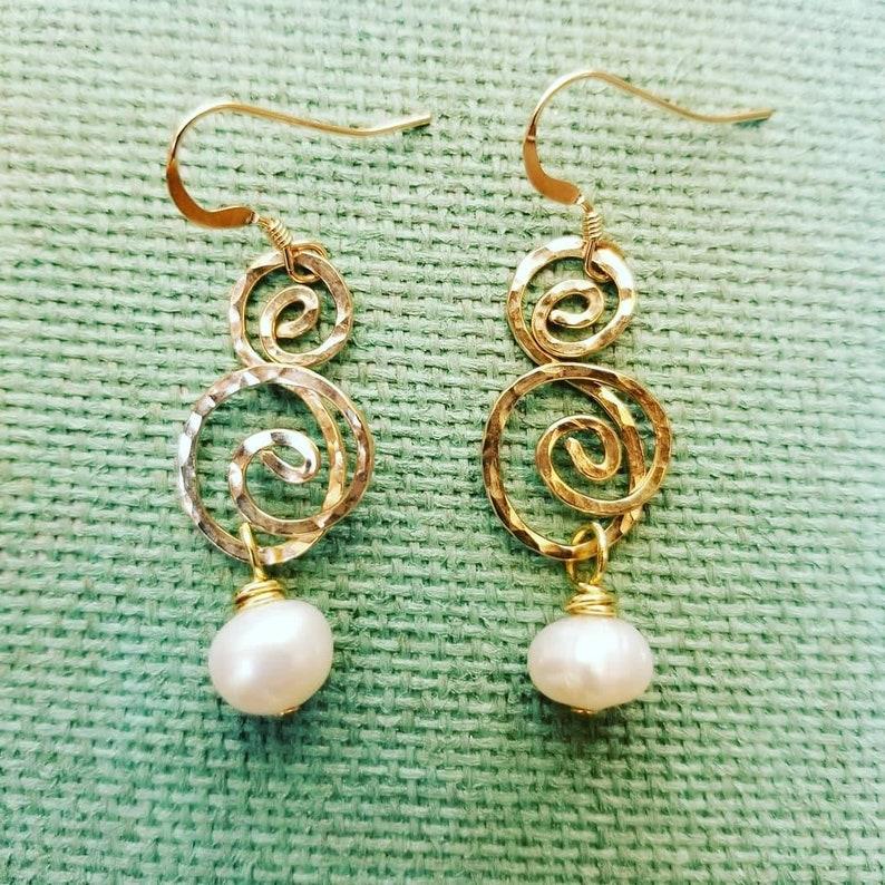 Gold Swirl Dangle Earrings Double Swirl Earrings with Pearl image 0