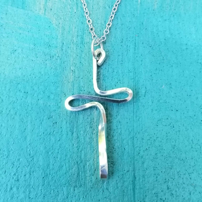 Sterling Cross Necklace Simple Cross Necklace Boho Modern image 0