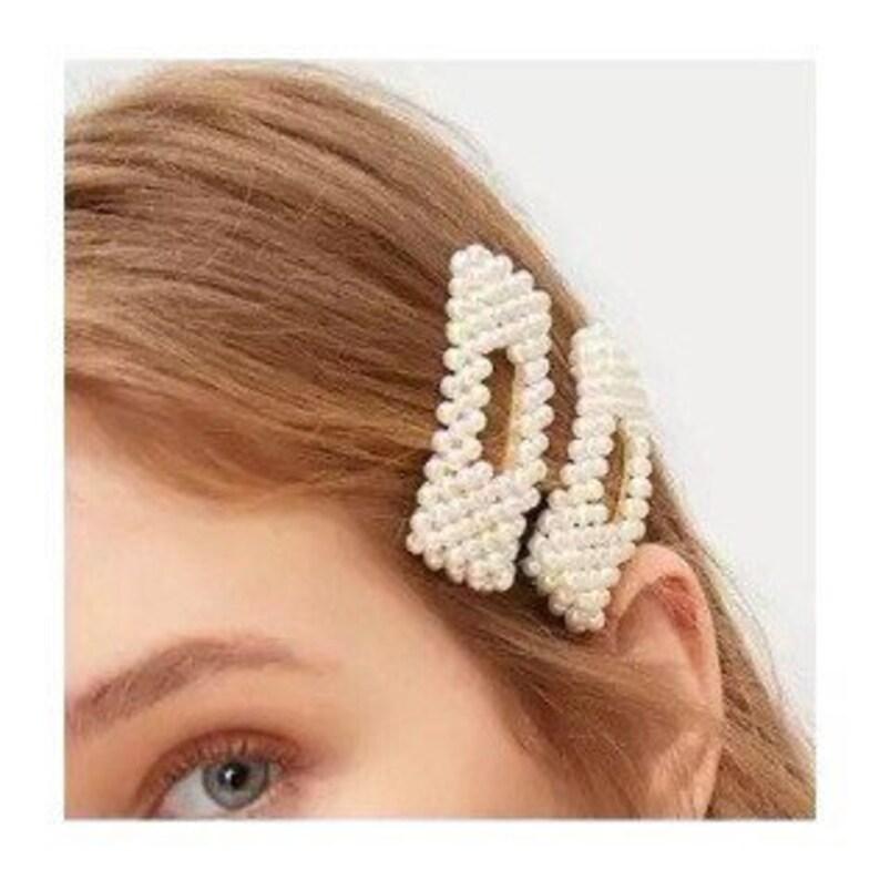 90s Vintage Hair Barrettes Bridal Hair Clips Bridesmaids Barrette Faux Pearl Hair Clips Large Pearl Barrette