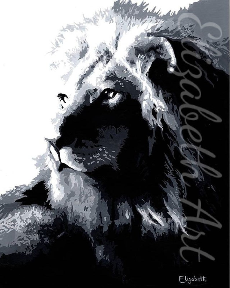 Malone black white art print poster animal art etsy
