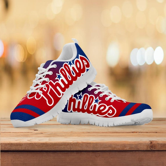Gift Baseball Running Phillies White Shoes Custom Kids Mens Gift Collector Philadelphia Black Sneakers Trainers Sizes Womens OZqqwT5