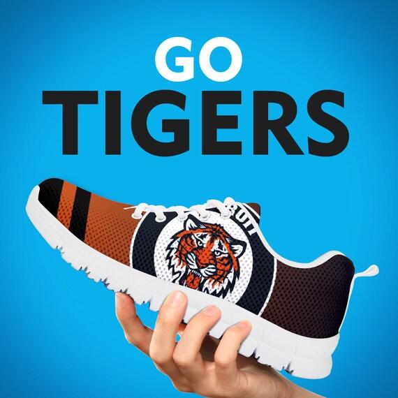 blanc chaussures noir formateurs personnalis Tigers cadeau Detroit baskets n457Ixq