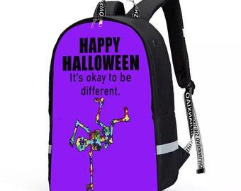 Breakdancing Skeleton Autism Awareness Backpack With Reflective Bar