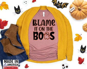 "Halloween T-Shirt, ""Blame it on the Boos"" Shirt, Cute Fall Shirt, Fall TShirt, Thanksgiving Shirt, Women's Graphic Tee"