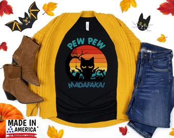 "Halloween TShirt, ""Pew Pew Madafaka"" TShirt, Cute Fall Shirts, Women's Graphic Tee, Fall Shirt, Thanksgiving Shirt, Pumpkin Spice"