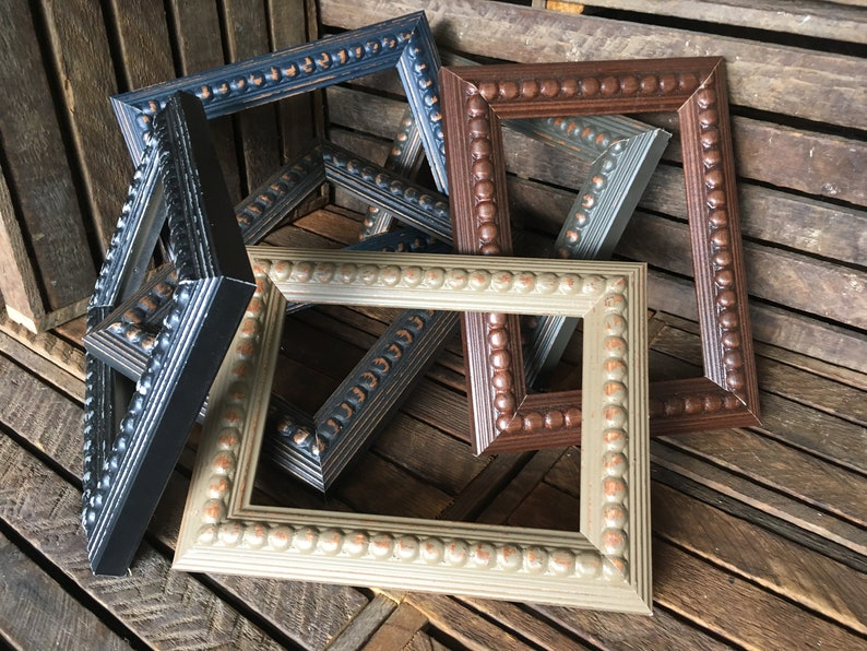 The Primitive Pearls Collection Large Beaded Wood Frame Distressed Ornate Wood Picture Frames Weathered Beaded Motif European Decor