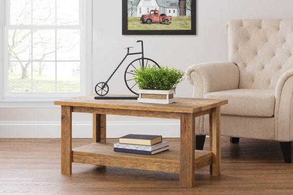Pleasant Rustic Coffee Table With Shelf Reclaimed Wood Furniture Farmhouse Living Room Decor Custom Primitive Furniture Machost Co Dining Chair Design Ideas Machostcouk