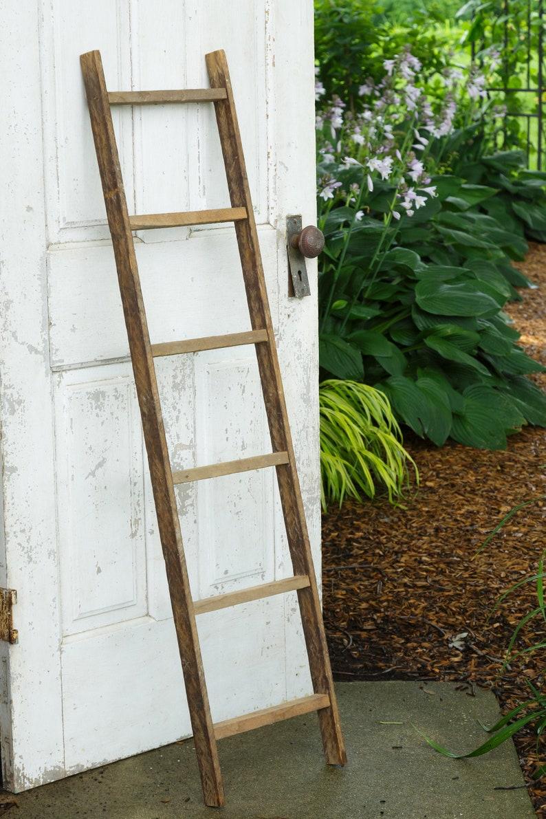 Reclaimed wood ladder Towel ladder rustic farmhouse decor image 0