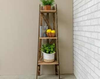 Three tier shelf, rustic wood shelving unit, farmhouse bathroom shelves, tobacco lath wood furniture, indoor plant stand