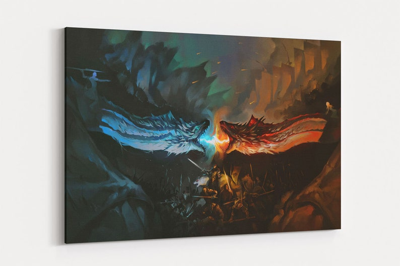 Ice vs Fire Game of Thrones Canvas Wall Art Poster Canvas Prints Canvas Art  Painting Wall Decor Artwork Decal