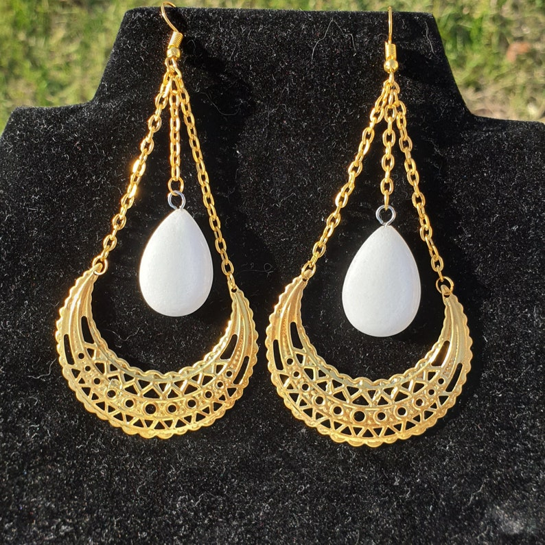 Celtic pagan golden color with moons and snow quartz stones by The Wheels of Time Wicca earrings fantastic