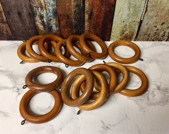 Wood Curtain Rings Vintage Lot Of 14 Wooden Ringsdrapery Curtains With Metal Eyewooden Ringscurtain Holders