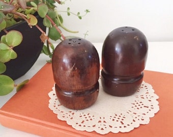 92c1d060883d Vtg Wooden Salt and Pepper shakers, small brown wooden shakers, Mid Century wooden  salt & pepper shakers