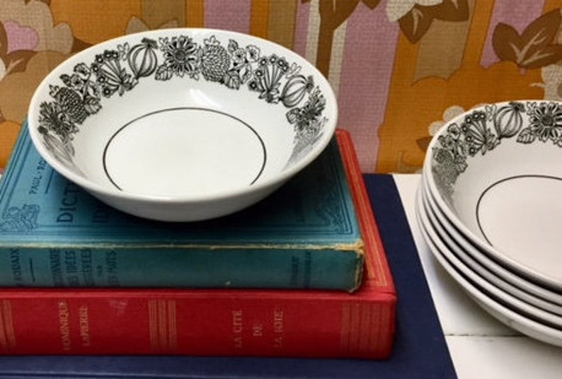 Ironstone black and white flowers and vegetables s Grindley Manitou set of 6 soup bowl Grindley cereal bowl Grindley white and black bowl