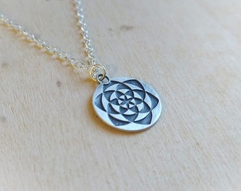 Lotus necklace, seed of life, symbol of enlightenment, gold lotus flower, yoga necklace, blooming flower, yoga gift.