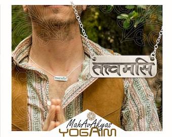 Sanskrit yoga necklace for men, Tat tvam Asi pendant.