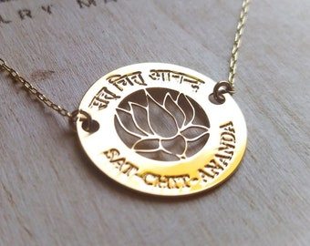 Lotus necklace,  Sat chit ananda pendant, Daily Reminder, Self Love, Saccidānanda. existence, consciousness, and bliss necklace.