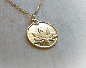 Lotus necklace, symbol of enlightenment, gold lotus flower, yoga necklace, blooming flower, yoga gift.