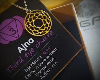 Third Eye Chakra necklace, Ajna necklace. yogi pendant. yoga gift ideas.