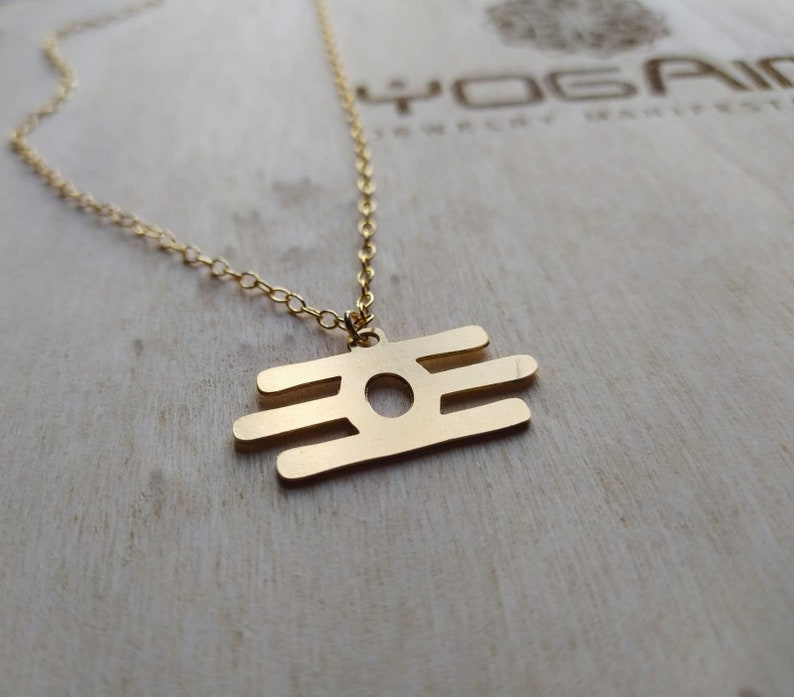 yoga gift yoga Jewelry. Tripundra Gold pendant