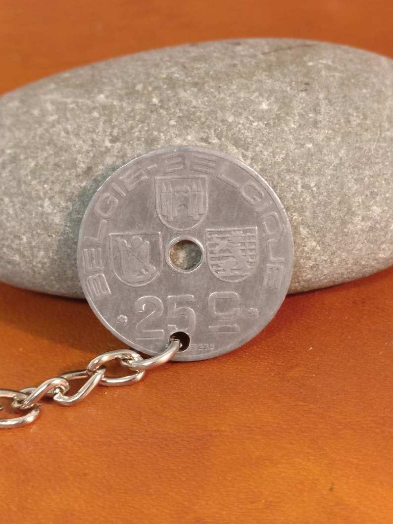 Birthday Gift Coin Keychain Handbag Charm Comes in Gift bag Gift Ready 1945 Belgian 25 Ces Cent Coin Keyring