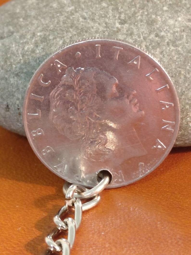 Birthday Gift Comes in Gift bag Coin Keychain 1965 Italian 50 Lira Coin Keyring Handbag Charm Gift Ready