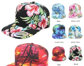 8015c381 Hawaiian Baseball Cap Snapback Floral Hats Flat Bill Fashion Casual  Tropical Palm Tree Adjustable Caps Unisex