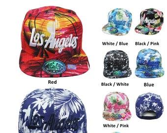 27177d275cd36 Los Angeles Baseball Cap Snapback Hawaiian Hat Floral Casual Flat Bill  Tropical Hip Hop Hipster