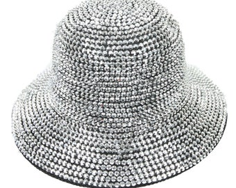 458737d40b1 Bling Bling Bucket Rhinestone Studded Cap Fashion Casual Hat Hip Hop Hats  Stylish Caps