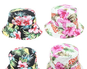 6d9310d7dcfc20 Hawaiian Bucket Hat Floral Hats Fashion Cap Casual Stylish Cotton Caps  Headwear Hip Hop Hiking