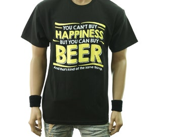 90a4bf2acc05f Funny Drinking Graphic T-Shirt You Can t Buy Happiness But You Can Buy Beer  Fashion Casual Printed Hip Hop Tee