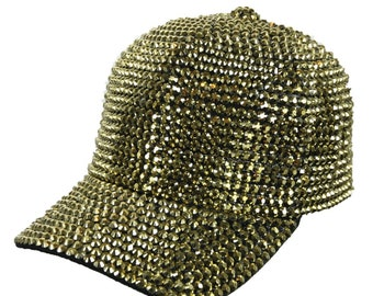 2b6db96eb49331 Rhinestone Studded Baseball Cap Cotton Hat Hip Hop Bling Bling Gold Caps  Fashion Casual Stylish Hats