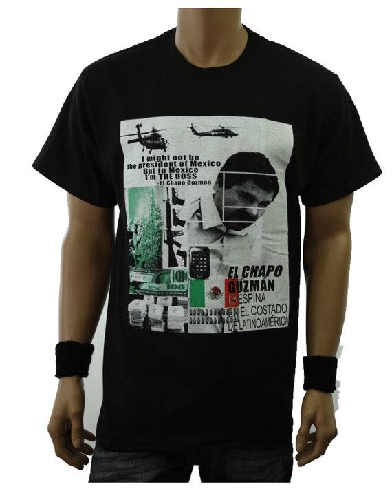 EL CHAPO T-shirt  Last Narco Mexico Drug Lord Tee Men 100/% Cotton Black New
