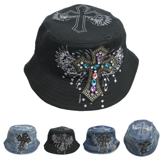 90210 Wholesale Pink Ribbon Breast Cancer Awareness Bucket Hat Rhinestone Bling Distressed Cap